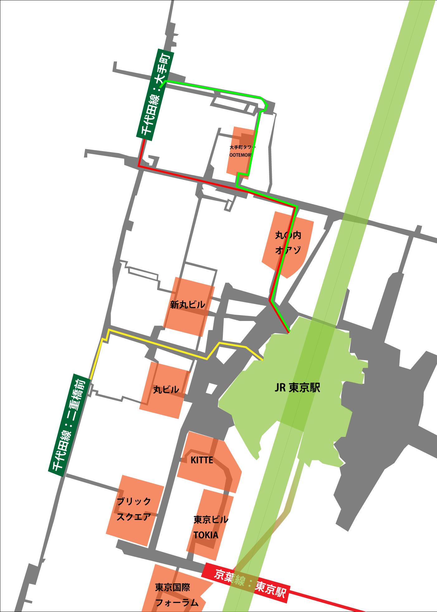 千代田線 - 東京駅地下ルート