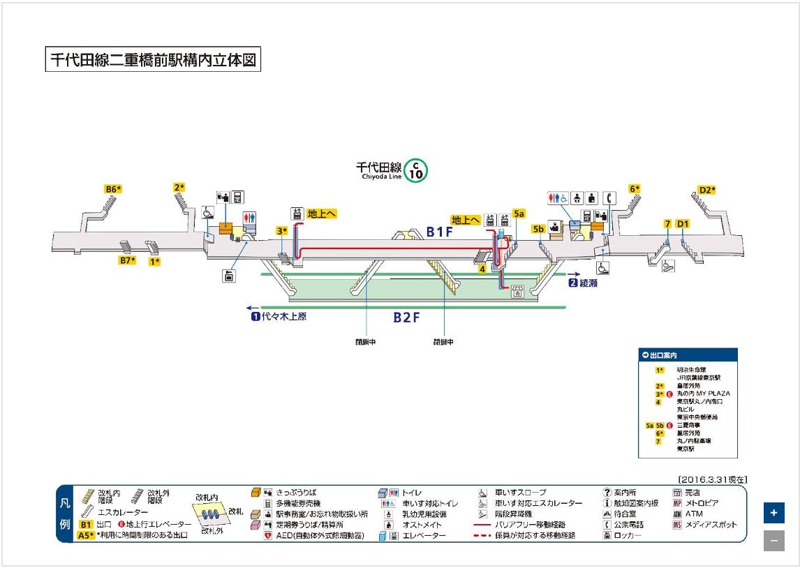二重橋前駅の構内図