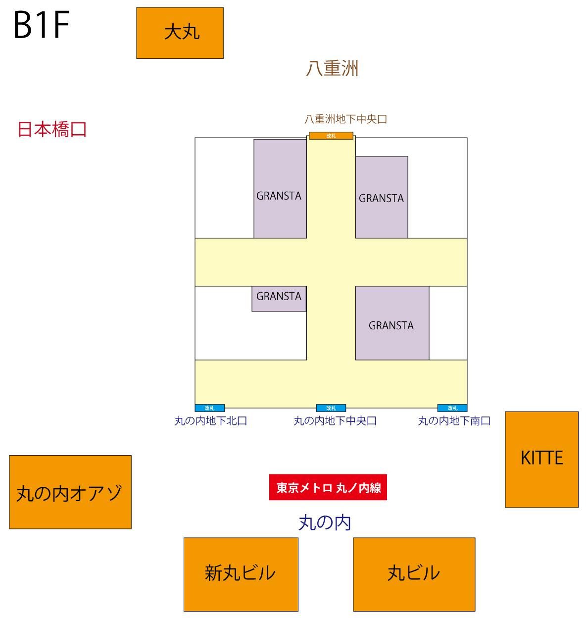 東京駅 B1F 新幹線乗り場 簡略図