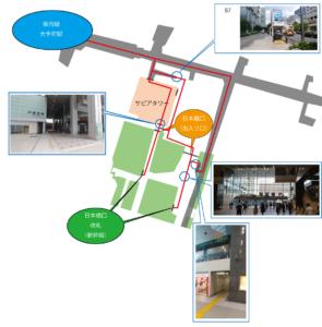 東京駅の日本橋口から東西線の徒歩ルート